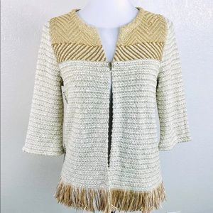 Chicos O Womens Cardigan Sweater 4 Metallic Fringe